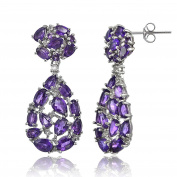 Sterling Silver African Amethyst and White Topaz Cluster Tonal Teardrop Dangle Earrings