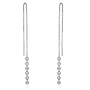BERRICLE Rhodium Plated Sterling Silver Ball Bead Fashion Threader Earrings