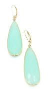 Chalcedony Green Hanging Earrings,14K Yellow Gold Lever Backs