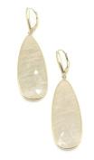 Sapphire Beige Pear Hanging Earrings,14K Yellow Gold Lever Backs