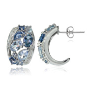 Sterling Silver London Blue, Swiss Blue and White Topaz Cluster Tonal Earrings