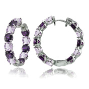 Sterling Silver Genuine or Created Gemstone 28mm Hoop Earrings