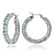 Sterling Silver Gemstone Round Hoop Earrings