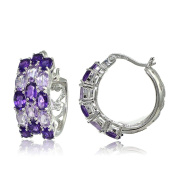 Sterling Silver African Amethyst and Amethyst 3-Row Hoop Earrings