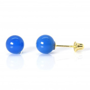6mm Natural Dyed Agate 14k Yellow Gold Safety Screw Back Earrings Womens Fashion Trendy