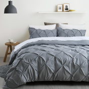 Ucharge Unique Pinch Pleat Pintuck Duvet Cover Set,3 Pieces Decorative Stylish Brushed Microfiber Bedding Set With Zipper and Corner Ties