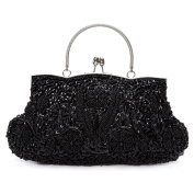 Chichitop Beaded Sequin Design Flower Evening Purse Large Clutch Bag