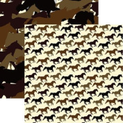 Horsin Around - Saddle Up - Horse 12x12 Scrapbook Paper by Reminisce - 5 Sheets