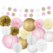 Kubert Tissue Paper Pom Poms Flowers Paper Lanterns and Polka Dot Paper Garland for Wedding Party Decorations, 18 Pieces