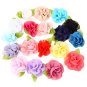 Pack of 10PCS Mixed Colours Flat-bottomed Beautiful Bohemian Style DIY Chiffon Flowers with Pearl and Rhinestone, Scrapbooking and More Decoration,Wedding Flowers(10Pcs) Diamond ribbon Flowers