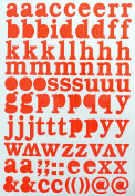 Jazzstick Small Lower-Case Alphabet Letters Decorative Sticker Value Pack Self Adhesive Label for Craft and Scrapbooking 5 sheets Orange 14D03