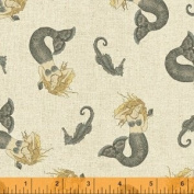 1/2 Yard - Sand Mermaids, Grey and Beige Nautical on Beige Cotton Fabric (Great for Quilting, Sewing, Craft Projects, Quilt, Throw Pillows & More) 1/2 Yard X 110cm
