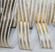 Top Hunter 1.5cm 10 Yds Soft Fold Over Elastic Gold Stripe Printed Stretch Ribbon FOE For Hair Tie Hair Band Headband Accessories,white