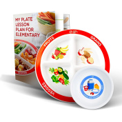 MyPlate Divided Kids Portion Plate Plus Dairy Bowl and Elementary Lesson Plan Teaching Tool 4 Pack
