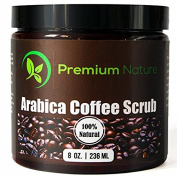 100% Natural Arabica Coffee Body Scrub with Sea Salt, Olive Oil & Shea Butter, Acne Treatment, Exfoliate, Moisturise, Tone & Reduce Cellulite, By Premium Nature