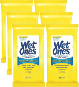 Wet Ones Antibacterial Hands & Face Wipes, Citrus Scent, 20 Count Travel Pack