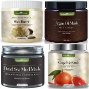 Premuim Organic Beauty Gift Set – Dead Sea Mud Mask, Shea Butter, Grapefruit Scrub, & Argan Oil