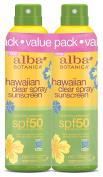 Alba Botanica Hawaiian SPF 50 Nourishing Coconut Clear Spray Sunscreen, 2 Count