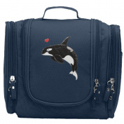 Travel Toiletry Bags Cute Orca Killer Whale Washable Bathroom Storage Hanging Cosmetic/Grooming Bag For Household Business Vacation, Multi Compartments, Waterproof Lining