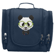 Travel Toiletry Bags I Love Funny Glasses Panda Washable Bathroom Storage Hanging Cosmetic/Grooming Bag For Household Business Vacation, Multi Compartments, Waterproof Lining