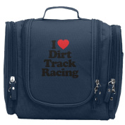 Travel Toiletry Bags I Love Heart Dirt Track Racing Washable Bathroom Storage Hanging Cosmetic/Grooming Bag For Household Business Vacation, Multi Compartments, Waterproof Lining