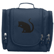 Travel Toiletry Bags Black Cat Shadow Silhouette Washable Bathroom Storage Hanging Cosmetic/Grooming Bag For Household Business Vacation, Multi Compartments, Waterproof Lining