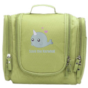 Travel Toiletry Bags Cartoon Narwhal Save The Narwhals Washable Bathroom Storage Hanging Cosmetic/Grooming Bag For Household Business Vacation, Multi Compartments, Waterproof Lining