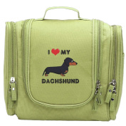 Travel Toiletry Bags I Love My Dachshund Dog Washable Bathroom Storage Hanging Cosmetic/Grooming Bag For Household Business Vacation, Multi Compartments, Waterproof Lining