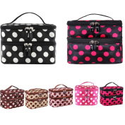 LQZ(TM) 144PCS Portable Cosmetic Bag Double Layers Dots Patterns Travel Toiletry Bag Organiser With Mirror