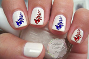 Butterflies Red and Blue Nail Art Decals