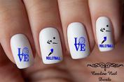 40 Sports Volleyball Love Blue & Black Design #3 Nail Art Designs Decals