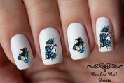 Sugar Skull Crow & Blue Roses Nail Art Decals