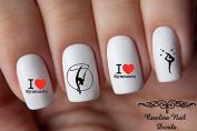 Sports Gymnast #2 I Love Gymnastics Child Nail Art Decals Set of 40 decals