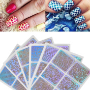 DDLBiz 6 Sheets Nail Hollow Irregular Grid Stencil Reusable Manicure Stickers Stamping Template Nail Art Tools