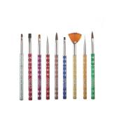 DDLBiz Fashion 9Pcs Beauty Nail Art Design Set Dotting Painting Drawing Polish Brush Pen Tools