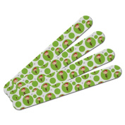 Double-Sided Nail File Emery Board Set 4 Pack - Holiday Christmas New Years - Girl Elf on Green