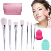 Vodisa 7pcs Soft Makeup Brushes Sets-Professional Kabuki Make Up Brush Set-Face Foundation Eye Cosmetic Brush Kit-Contour Make Up Brushes-Makeup Brush Cleaner with Makeup Sponge Puff+ Cleaning Egg