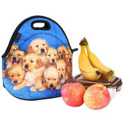 iColor Lovely Small Dogs Neoprene Insulated Waterproof Cooler Box Container Soft Case baby lunchbox Handbag Work Travel Outdoor Thermal Lunch Tote Bag School/Office Storage Pouch Food Carrying YLB-56
