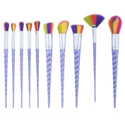 Micup 10 Pcs Makeup Brushes Set, Professional Cosmetic Unicorn Multicolor Premium Synthetic Bristles Brushes Kit