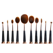 Micup 10Pcs Pro Stand-Up Oval Makeup Brushes For Foundation, Contour, Eyeshadow, Lip Colour