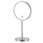 Nameeks Nameeks AR7716 Glimmer Double Sided Free Standing 3x Magnification Makeup Mirror, Chrome/Satin Nickel/Gold