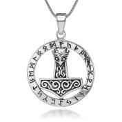 """925 Sterling Silver """"The Hammer of Thor"""" Mjölnir Viking Symbol Pendant Necklace, 46cm"""