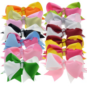 Flower Grosgrain Hair Bows With Tropical Two-Tone Twisted Pattern For Women Little Girls LCLHB