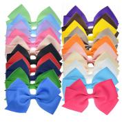 20 Bulk Ribbon Hair Bows For Girls Pure Colour 11cm Giftbox Pack LCLHB
