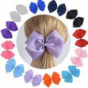 Cute Extra Large Hair Bow Set With Ruffled Grosgrain Fabric For Women Baby Girls (Giftbox Pack Of 12) LCLHB