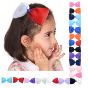 LCLHB Boutique Wide Hair Ribbon Bow With Contrast Colour For Baby Girls Kids Juniors -13cm Pack of 20