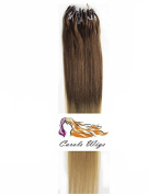 CarolsWigs® 46cm Indian 100s Ombre Top Lighter Brown Bottom Honey Blonde 01# Premier Remy Loop Micro Ring 100% Human Hair Extensions 5A* UK Seller