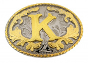 Initial Belt Buckle K Rodeo Western Texas US Style Alphabet Monogram Font Metal