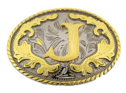 Initial Belt Buckle J Rodeo Western Texas US Style Alphabet Monogram Font Metal