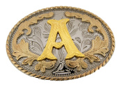Initial Belt Buckle A Rodeo Western Texas US Style Alphabet Monogram Font Metal